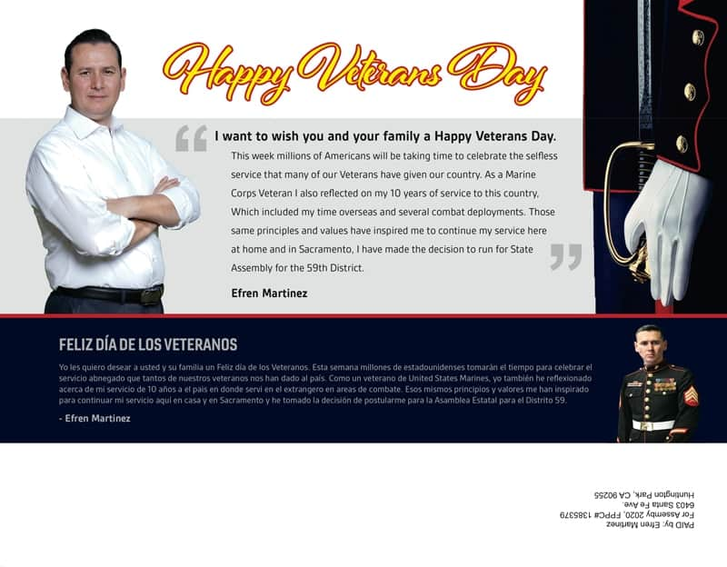 Happy Veteran's Day Campaign Mailer Side 1