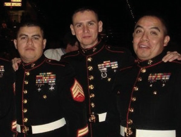 Efren Martinez with his fellow Marines in their dress uniforms.